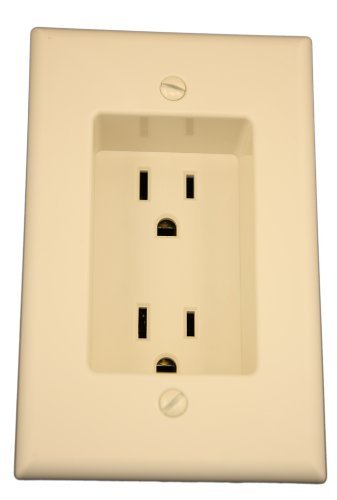 1-Gang Recessed Duplex Receptacle, Residential Grade, with Screws Mounted To Housing, 10 Pack, Light Almond ()