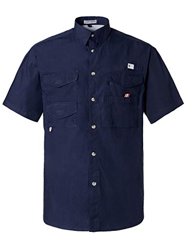 Alimens & Gentle Short Sleeve Wicking Fabric Sun Protection Fishing Casual Shirts - Color: Navy, Size: 3XL