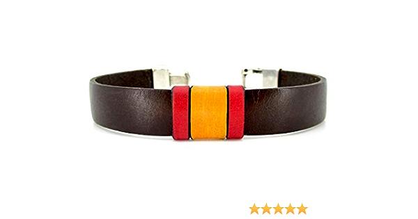 Pulsera de cuero marrón, pulsera bandera de España, accesorios de cuero: Amazon.es: Handmade