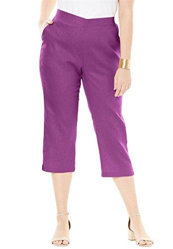 Jessica London Women's Plus Size Linen Capri Radiant Orchid,20 (Flat Front Linen Skirt)