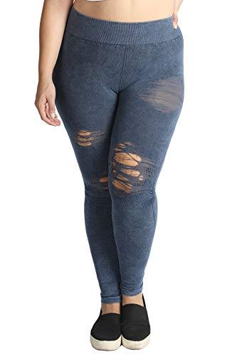 Nikibiki Women Seamless Vintage Modal Destroyed Distressed Leggings, Plus Size (Vintage Denim) ()