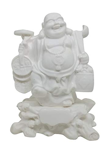 Feng Shui Laughing Buddha Statue for Good Luck Wealth, Money and Happiness Holding a Bowl in White Color Handicrafts Made from Marble Powder in India 12 cm \ 4.7
