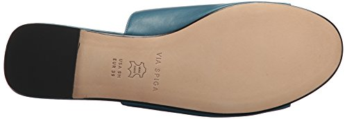 Via Spiga Women's Hope Zipper Flat Sandal Peacock Leather euPQVMKOr