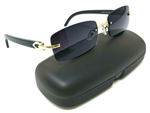 Dean Slim Rimless Rectangular Metal & Wood Aviator Sunglasses (Rose Gold & Black Wood w/Case, ()