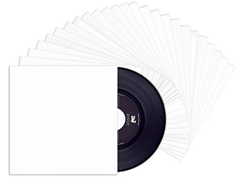 Price comparison product image TunePhonik 7-inch Outer Vinyl Record 45 Jackets with Coated White Finish and No Center Hole | 25 Pack Made in LA