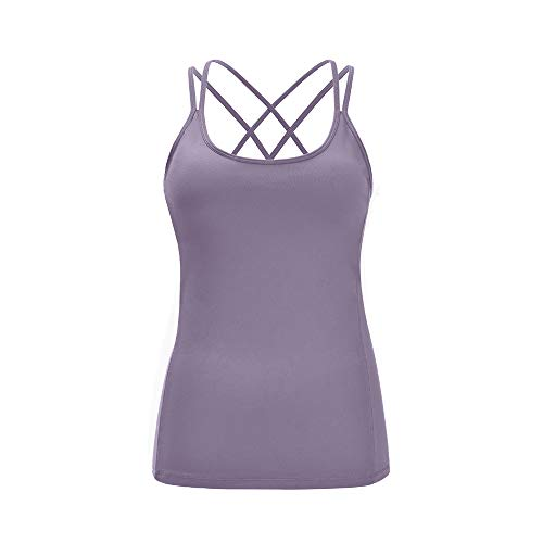 - Lemedy Women Yoga Tank Top Workout Running Racerback Shirts with Built in Bra (L, Purple)