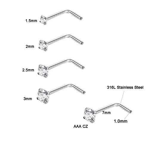 SOVSEFD 8 Pcs 18 Gauge Stainless Steel Nose Rings Studs L Crook Shaped Crook Nose Fake Septum Rings Body Piercing Jewelry 1.5mm 2mm 2.5mm 3mm Diamond CZ Nose Stud L Bend for Women Men Girl Piercing (Sliver-Steel)