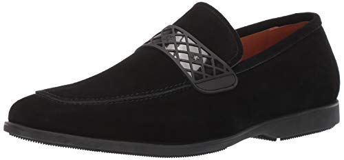 STACY ADAMS Men's Crispin Moc-Toe Slip-On Loafer Black Suede 9.5 M US - Embossed Leather Blazer
