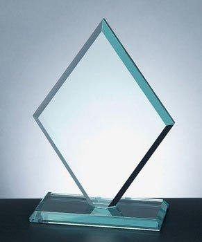 Diamond Jade Glass Award with Slant Edge Base - Large
