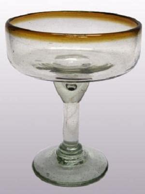 Mexican Blown Glass Large Margarita Glasses Amber Rim Set of 6