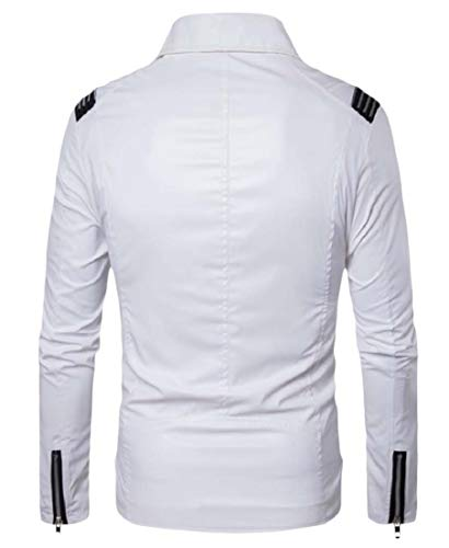 Bomber White Collar Turn Leather Skinny Zip Down Motorcycle AngelSpace Mens Jacket Ivw8qaF