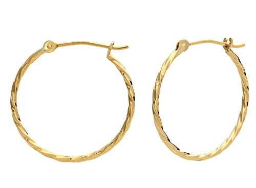 14k Yellow Gold Twisted Round Hoop Earrings -
