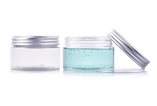 2PCS 100ml 3.4oz Empty Refillable Plastic Clear Wide Mouthed Jar Bottle Box with Liner and Screw Aluminium Cap Cosmetic Makeup Facial Mask Cream Packaging Jar Pot Container