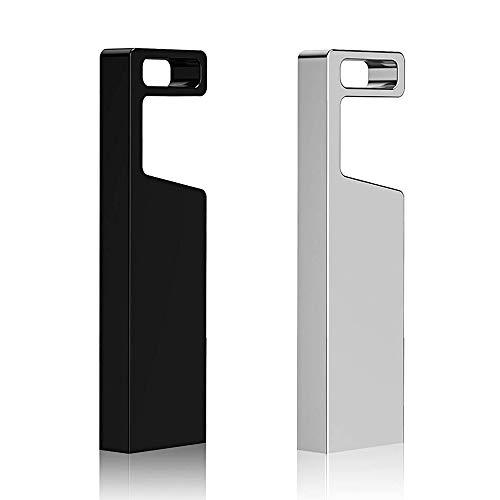Aiibe 2 Pieces 32GB USB Flash Drive USB 2.0 32 gb Metal Thumb Drives Waterproof Design Data Storage Memory Stick Jump Drive (32G, 2 Pack, Mix Color: Black ()