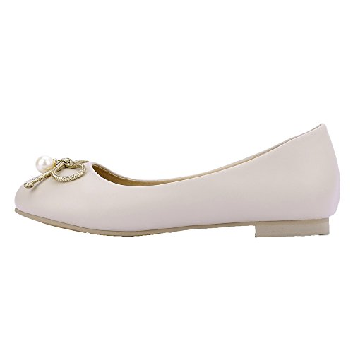 Odomolor Women's PU Round-Toe Low-Heels Pull-On Solid Pumps-Shoes Apricot lmrrA2Y