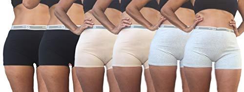 Blue 55 Women's Plus Size Cotton Boy Shorts Panties Underwear (6PK: 2 Black 2 Beige & 2 H.Grey, 2X/3X) (Plus Size Womens Boxers)