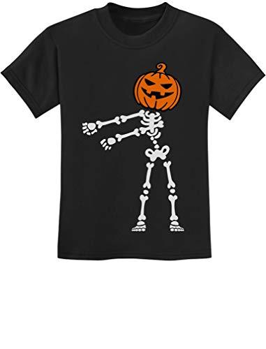 Skeleton Floss Dance Jack O' Lantern Pumpkin Halloween Youth Kids T-Shirt Large Black ()