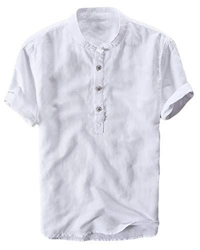 Enjoybuy Mens Henley Linen Shirts Short Sleeve Banded Collar Hidden Buttons Plain Summer T-Shirt Top (X-Large, 02-White) - Work Sleeve Short Collar Banded Shirt