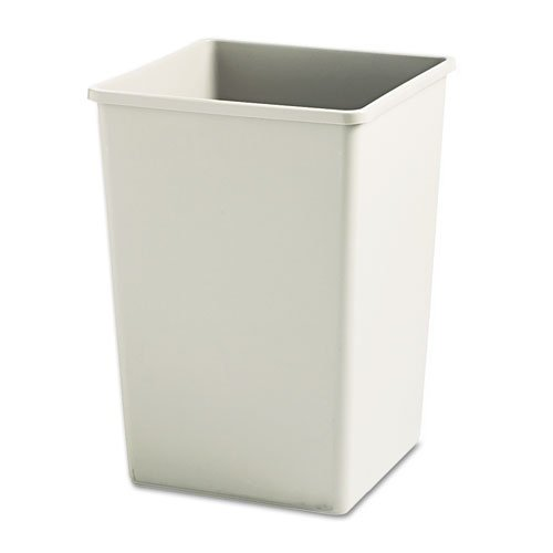 Rubbermaid Commercial Plaza Waste Container Rigid Liner, Square, Plastic, 35 gal, Beige - one waste receptacle (Plaza Waste Receptacle)