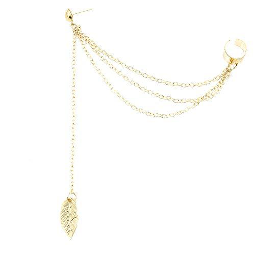 (Elegant Leaf Hollow Dangle Earrings Exquisite Long Tassel Simulated Pierced Eardrop for Women Girls(Gold))