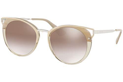 Prada PR66TS Sunglasses Striped Beige w/Gradient Brown Mirror Silver 54mm Lens LKA4O0 SPR66T PR 66TS SPR ()