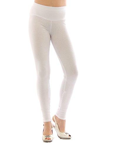 YESET Femme Leggings pantalon long leggings en coton Taille haute BLANC XL