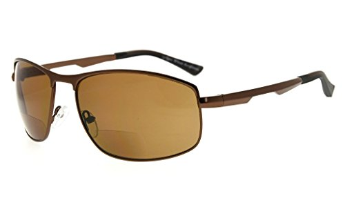 Eyekepper Polycarbonate Polarized Bifocal Sunglasses Bifocal Sun Readers Outdoor Polarised Reading Glasses (Brown, - Polarised Reading Glasses