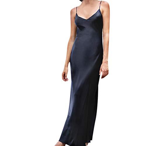 TIFENNY Women's Milk Silk Soft Dresses Fashion Sexy Solid Sleeveless Backless Open Fork Long Strap Slip Formal Dress Black ()