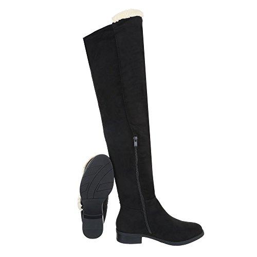 Ital-Design Overknees Damenschuhe Overknees Blockabsatz Blockabsatz Reißverschluss Stiefel Schwarz