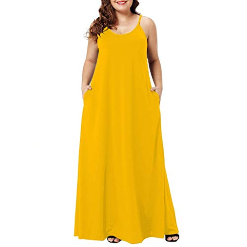 CCOOfhhc Casual Dresses for Women Summer O-Neck Spaghetti Strap Tank Maxi Dress Plain Loose Swing Long Dress with Pockets Yellow