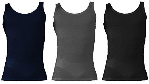 6069 Uomo Art Diadora Puro nero Underwear 3 Cotone Larga Spalla grigio Canotte Blu w1gqA