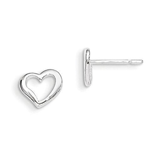 Sterling Silver Polished Heart Post Earrings
