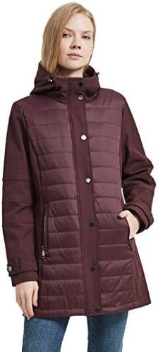 IKAZZ Women's Winter Jackets, Warm Fleece Hooded Quilted Lightweight Waterproof Long Coat