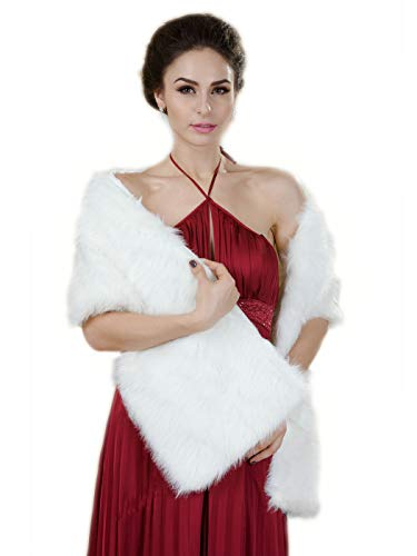 Aukmla Sleeveless Faux Fur Shawl Wedding Fur Wraps and Shawls Bridal Fur Stole for Brides and Bridesmaids (White(rectangular))