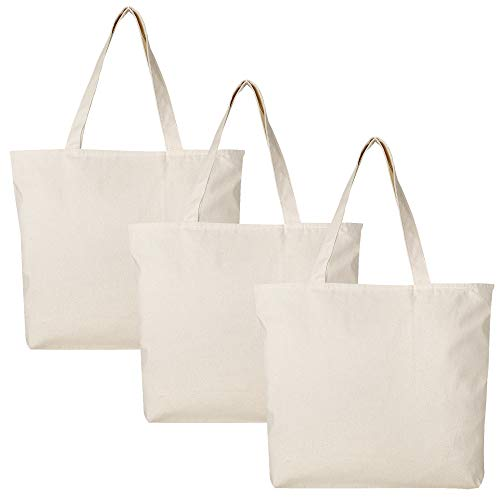 PACK OF 3 Large Heavy Canvas Plain Tote Bags, with Top and Inside Zipper Closure by BagzDepot (Canvas Zipper Tote)