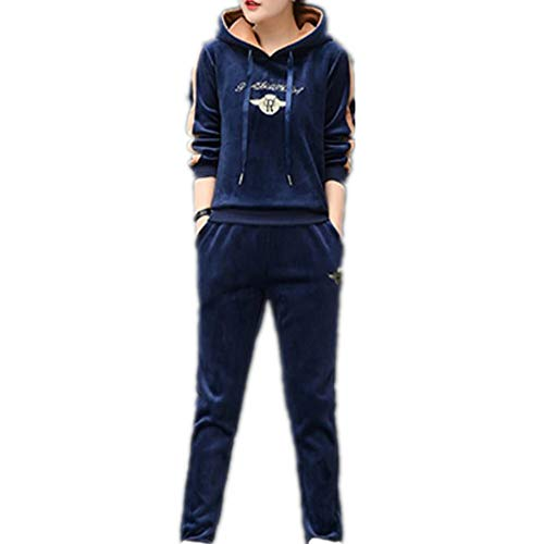 Women 2 Piece Outfits Tracksuit Sets Full Long Sleeve Hoodie and Long Pant(Navy XXXL)