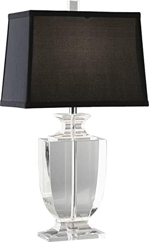 Robert Abbey 3324B Lamps with Rectangular Black Dupioni Silk Shades, Clear Lead Crystal/Silver Plate Accents ()