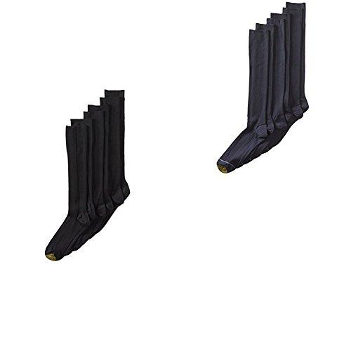 Gold Toe Men's 3-Pack Metropolitan Over-the-Calf Dress Socks,Black/Navy One Size