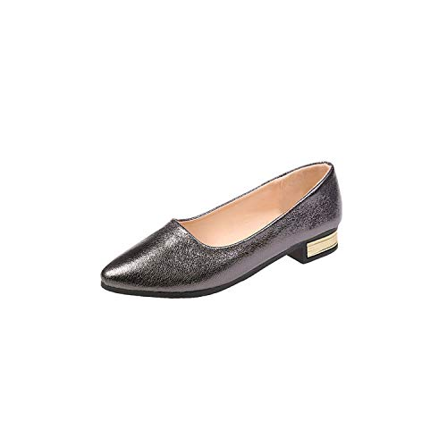 Sunny-Aha Low Square Heels Women Shallow Pumps Slip On Pointed Toe Solid,Deep Gray,9