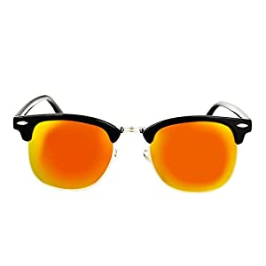 YANQIUYU Classic Retro 50's Semi Rimless 3016 Polarized Clubmaster Sunglasses with Metal Rivets