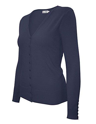 CIELO Women's Knit Silk Soft Cardigan Sweater, V-Neck (Large, SW205 Navy)