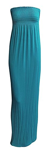 Boobtube Sheering Plain Maxi Sleeveless 21FASHION Ladies Long Maxi Dress Bandeau Summer Teal Womens wpxp1Iq