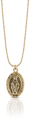 Benevolence LA Virgin Mary Pendant Necklace: 14k Gold Chain Miraculous Medallion Medal Coin Circle Disc Chains (18 inch (Gold Mother)