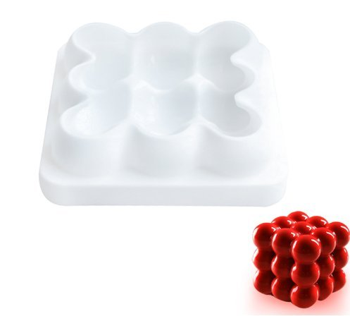 Raspberry White Chocolate Mousse - Star Trade Inc - 3x3 Spheres Geometric Desserts Cake Mould Mold Silicone Art 3D Mousse DIY Baking Cookie Mould Bakery Brownie Homemade ( 1 pcs)
