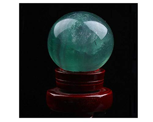Natural Green Fluorite Healing Quartz Crystal Sphere Gemstone Ball with Stand, Natural Sculpture Figurine with Stand (5# Green 5cm/1.96 inch)