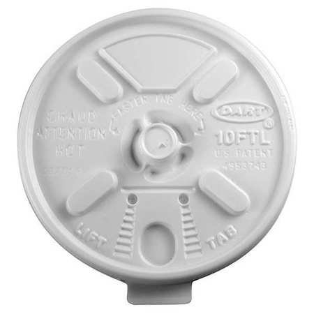 Lid for 6 to 14 oz. Hot Cup, Flat, Lock Back Tear Tab, White, ()