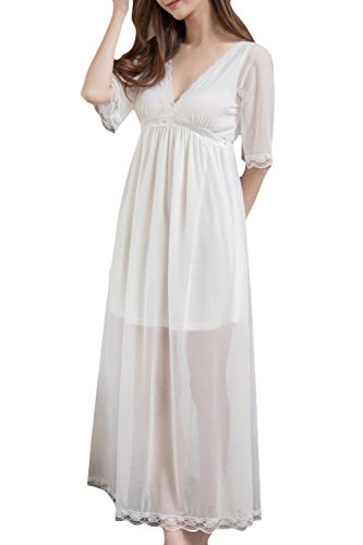 (Asherbaby Women's Long Sleeve Vintage Nightgown Victorian Sleepwear Lounge Dress (US L = Asian Tag XL, Creamy)