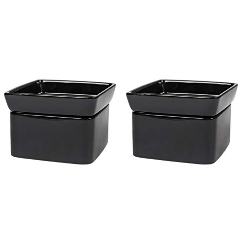 Elanze Designs Glossy Black Ceramic Stoneware 2-in-1 Jar Candle and Wax Tart Oil Warmer - 2 Pack