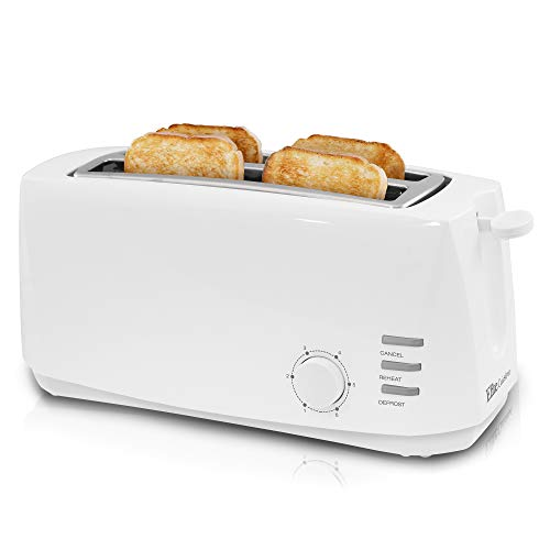 "Maxi-Matic ECT-4829 Long Cool Touch 4-Slice Toaster with Extra Wide 1.25"" Slots for for Bagels, Waffles and Specialty Breads, Cancel, Reheat, Defrost 6 Shade Settings, White"