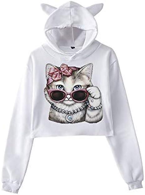 Rawdah_Mujer Sudadera con Capucha Tumblr Mujer Elegante Deportiva Camiseta Otoño Chica Oreja de Gato Escuela Jersey Manga Larga Algodón Camisetas ...